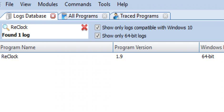 Revo Uninstaller Pro - Uninstall ReClock using Logs Database