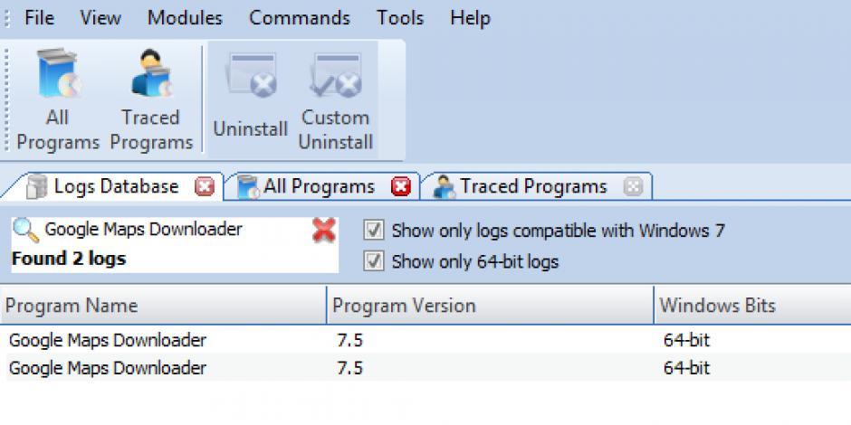 Revo Uninstaller Pro - Uninstall Google Maps Downloader using Logs on