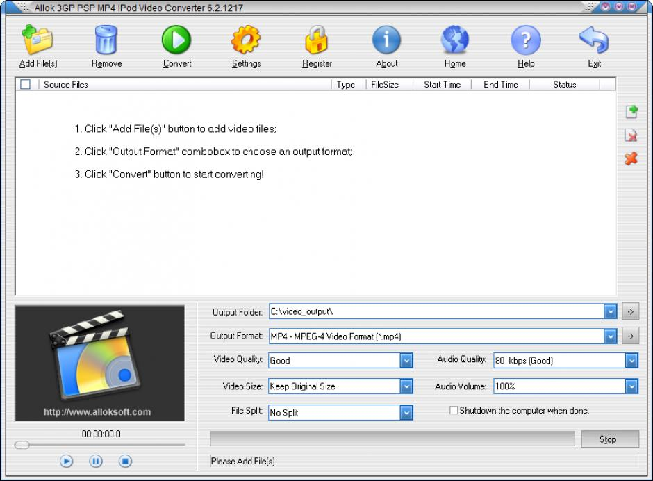 logiciel allok 3gp psp mp4 ipod video converter
