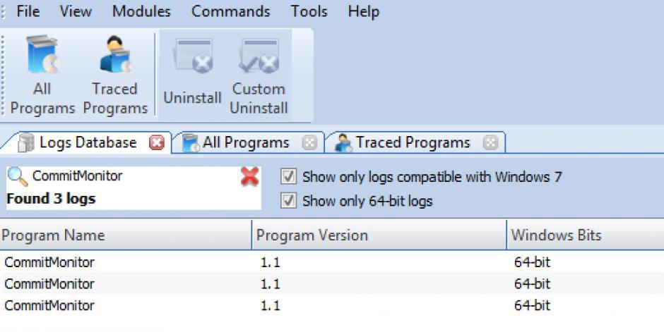 Revo Uninstaller Pro - Uninstall Commit Monitor using Logs Database