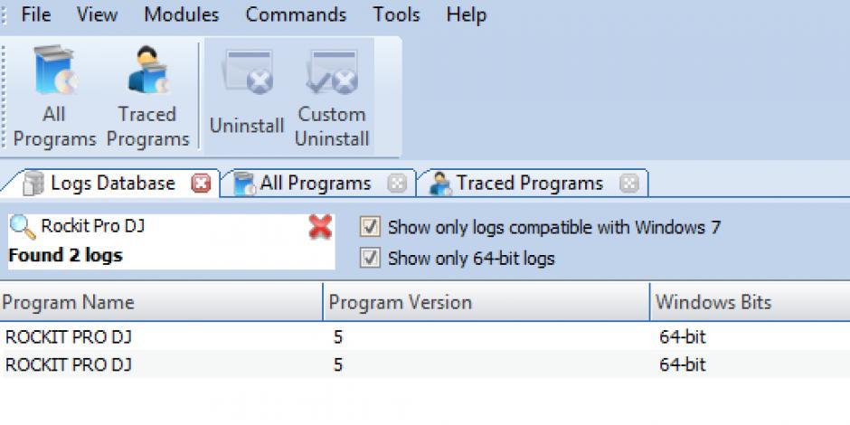 Revo Uninstaller Pro - Uninstall Rockit Pro DJ using Logs Database Find Rockit Pro DJ in Logs Database List