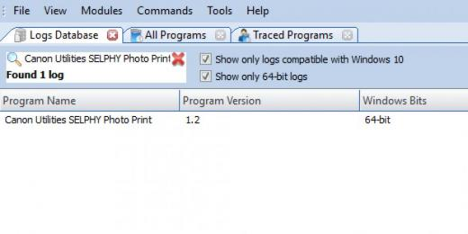 Find Canon Utilities SELPHY Photo Print in Logs Database List