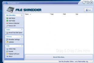 File Shredder main screen