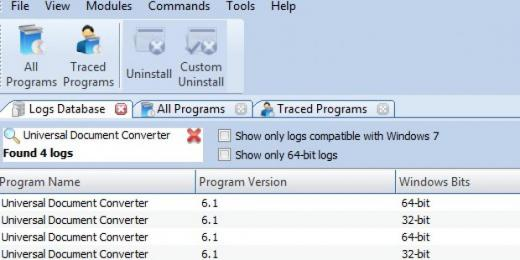 Find Universal Document Converter in Logs Database List