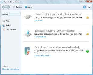 Acronis Drive Monitor main screen