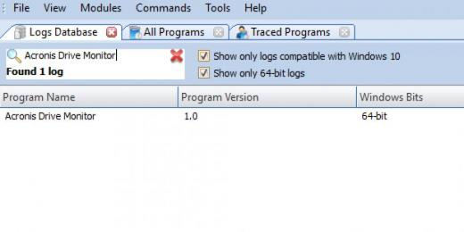 Find Acronis Drive Monitor in Logs Database List