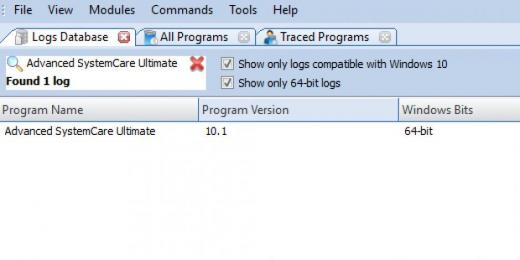 Find Advanced SystemCare Ultimate in Logs Database List