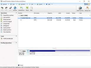 EaseUS Partition Master Professional main screen
