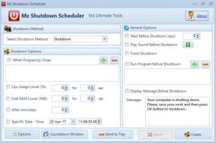 Mz Shutdown Scheduler main screen