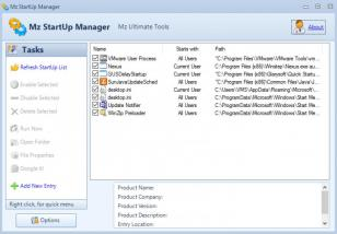 Mz StartUp Manager main screen