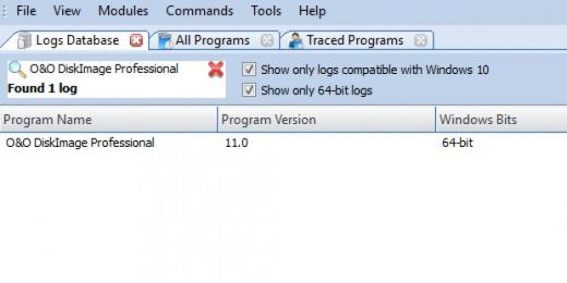 Find O&O DiskImage Professional in Logs Database List