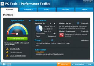PC Tools Performance Toolkit main screen