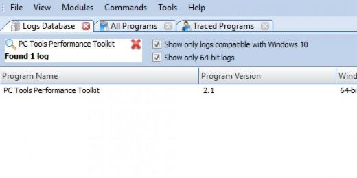 Find PC Tools Performance Toolkit in Logs Database List