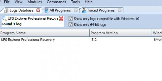 Find UFS Explorer Professional Recovery in Logs Database List