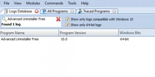 Find Advanced Uninstaller Free in Logs Database List