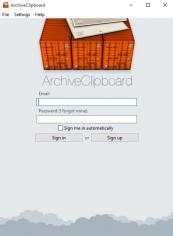 ArchiveClipboard main screen