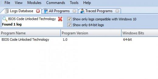 Find BIOS Code Unlocked Technology in Logs Database List
