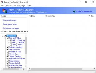 Eusing Free Registry Cleaner main screen