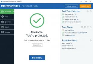 Malwarebytes main screen