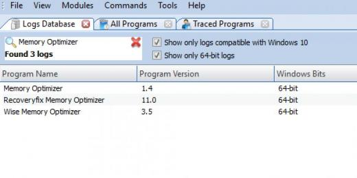 Find Memory Optimizer in Logs Database List