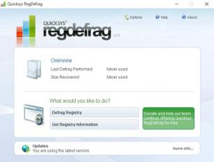 Quicksys RegDefrag main screen