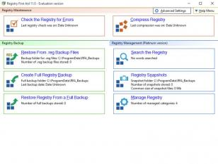 Registry First Aid main screen