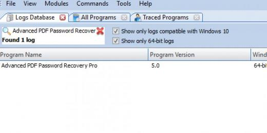 Find Advanced PDF Password Recovery Pro in Logs Database List