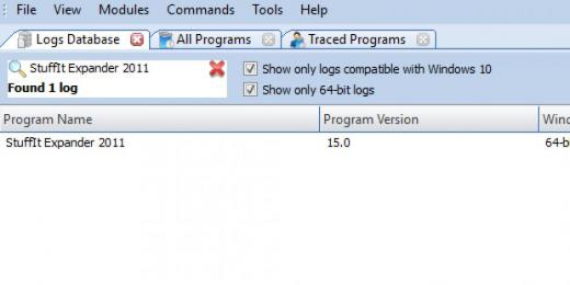 Find StuffIt Expander 2011 in Logs Database List