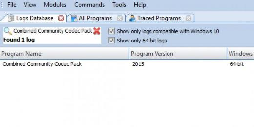 Find Combined Community Codec Pack in Logs Database List