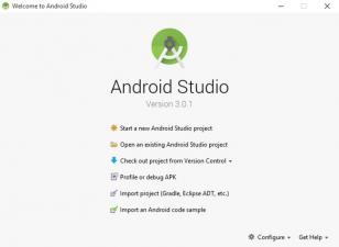 Android Studio main screen