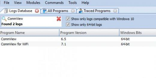 Find CommView in Logs Database List