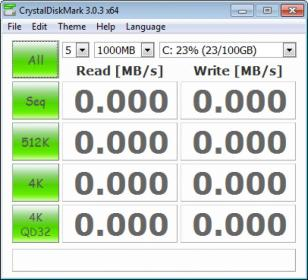 CrystalDiskMark main screen