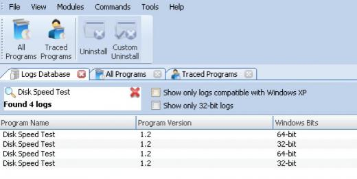 Find Disk Speed Test in Logs Database List