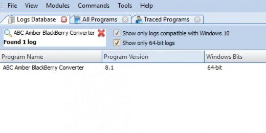 Find ABC Amber BlackBerry Converter in Logs Database List
