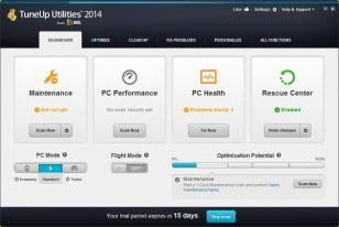 TuneUp Utilities 2014 main screen