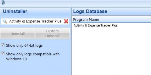 Find Activity & Expense Tracker Plus in Logs Database List