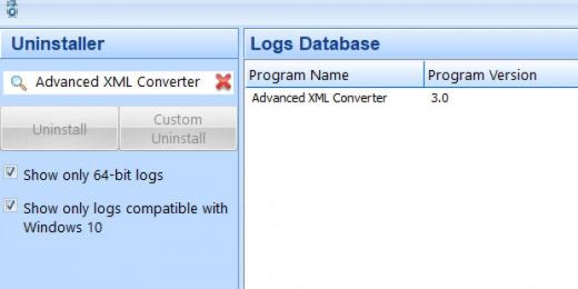 Find Advanced XML Converter in Logs Database List