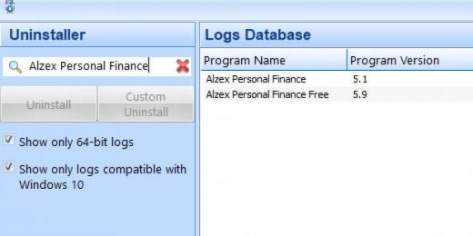 Find Alzex Personal Finance in Logs Database List