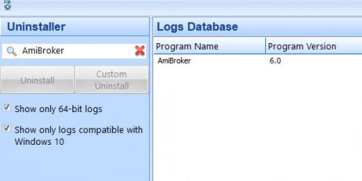 Find AmiBroker in Logs Database List