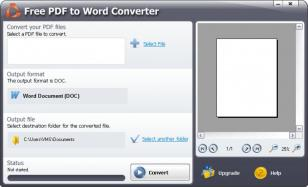 Free PDF to Word Converter main screen