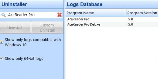 Find AceReader Pro in Logs Database List