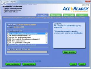 AceReader Pro Deluxe main screen