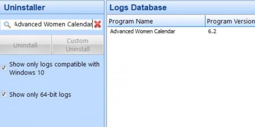 Find Advanced Women Calendar in Logs Database List