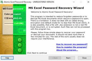 Atomic Excel Password Recovery main screen