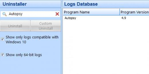 Find Autopsy in Logs Database List
