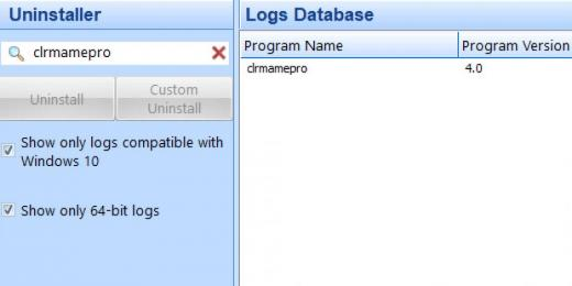 Find clrmamepro in Logs Database List