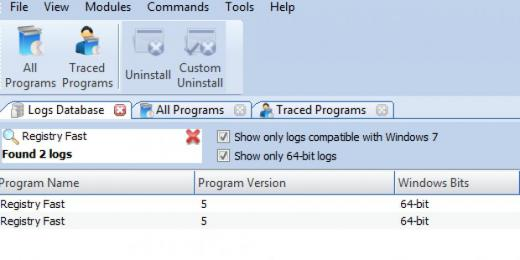 Find Registry Fast in Logs Database List