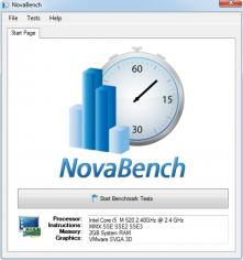 NovaBench main screen