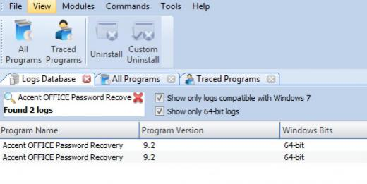 Find Accent OFFICE Password Recovery in Logs Database List