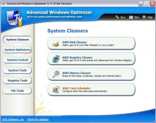 Advanced Windows Optimizer main screen